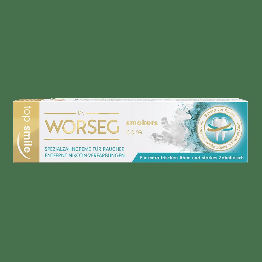 Vorschaubild Dr. Worseg Top Smile Smokers Care Zahncreme Verpackung